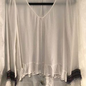 White Bell-Sleeve Bohemian Top